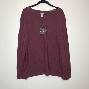 NWT Ava & Viv Heather Burgundy V Neck Top  X  14W